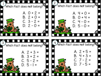 Fact Families Fine the Fact That Does NOT Belong  St Patrick's Day Grades 1 - 2