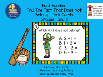 Fact Families Find the Fact That Does NOT Belong  Baseball  Grades 1 - 2