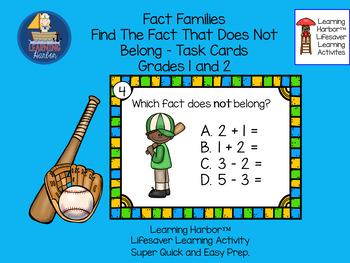 Fact Families Find the Fact That Does NOT Belong  Baseball  Grades 1 - 2