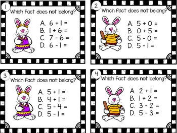 Fact Families Find the Fact That Does NOT Belong  Bunnies  Grades 1 - 2