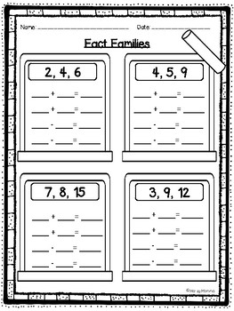 Fact Families Freebie- Addition and Subtraction