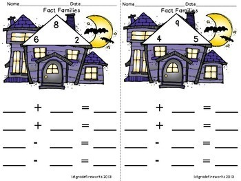 Math Addition & Subtraction Fact Families -  Halloween Booklets