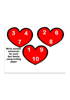 Fact Families Heart-to-Heart Worksheet
