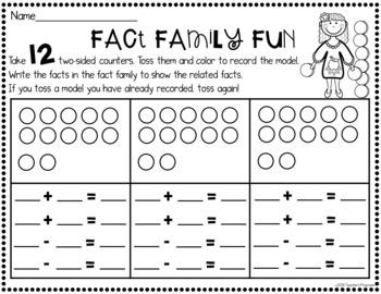 Fact Families Math Center Activity