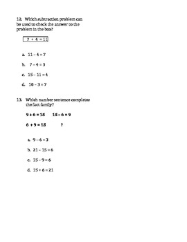 Fact Families Math Test (CST Format)