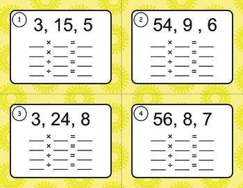 Fact Families: Multiplication & Division Task Cards