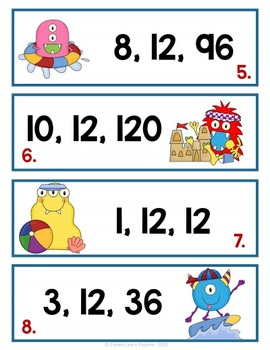 Fact Families Multiplication and Division Monsters