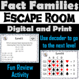 Fact Families Multiplication and Division Game: Escape Room Math