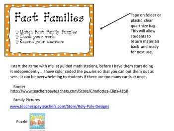 Fact Families: Multiplication and Division Puzzles