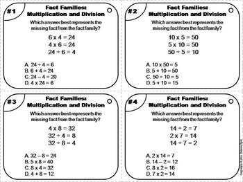 Fact Families Task Cards (Multiplication and Division) 2nd 3rd 4th 5th Grade