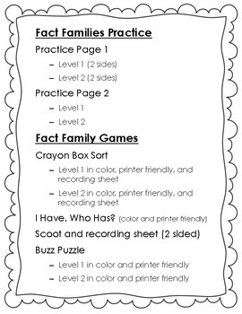Fact Families Skill Pack (Scoot, I Have Who Has, Games, Worksheets, and MORE!)