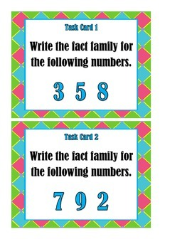 Fact Families - Task Cards
