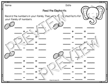 Addition and Subtraction Fact Family Activity Elephants