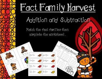 Fact Families - Thanksgiving Theme