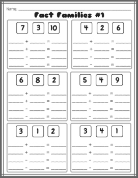 Fact Families (Traditional AND Connecting Math Concepts Format)