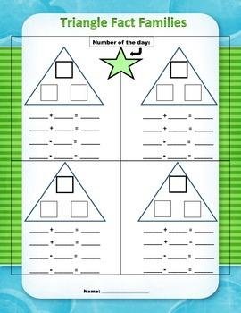 Math Fact Families - Triangle Method Worksheet