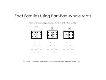 Fact Families Using Part-Part-Whole Mats