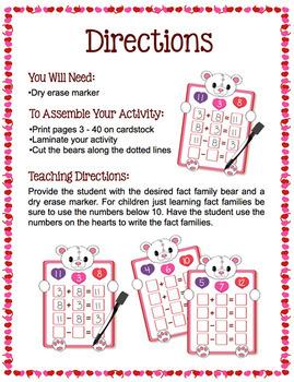 Fact Families - Valentine Bears