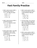 Fact Family Practice (Multiplication and Division)