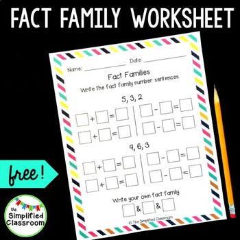 Fact Families Worksheet for 1st Grade {FREEBIE!}