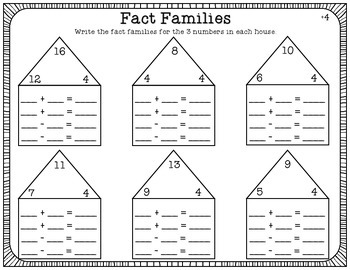 Fact Families Worksheet Pack [FULL SET 1-9 ADDITION]