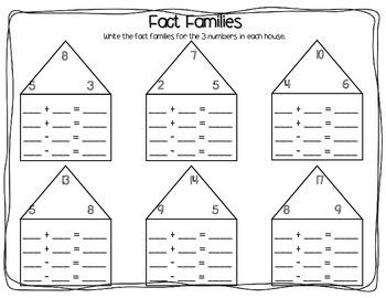fact families worksheet pack addition subtraction tpt. Black Bedroom Furniture Sets. Home Design Ideas
