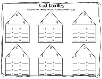 fact families worksheet pack addition  subtraction  tpt
