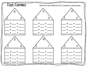 Math Worksheets Fact Families for First Grade | Mathematics ...