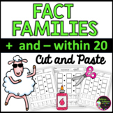 Fact Families Addition and Subtraction Within 20 Worksheets | Cut and Paste