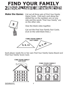Fact Families Worksheets + Full Color Fact Families Game