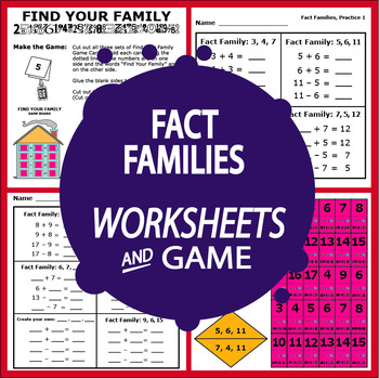 Fact Families Worksheets and Game