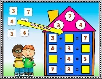 Google Classroom Math Paperless Fact Families Task Cards
