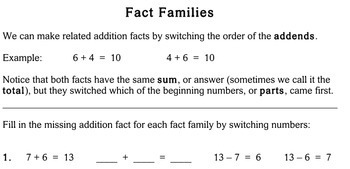 Fact Families, first/second grade - Individualized Math - worksheet set / pack