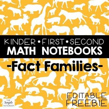Math Notebooks: EDITABLE Fact Families