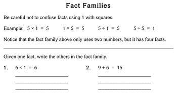 Fact Families, third grade - Individualized Math - worksheet set / pack