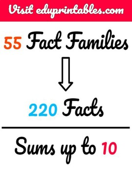 Fact Families, up to the Sum of 10