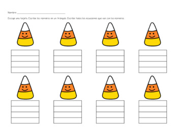 Fact Families with Candy Corn - SPANISH