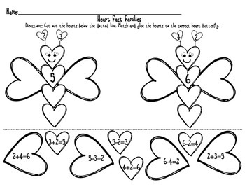 Fact Families with Heart Animals- Addition/Subtraction- Valentine's Day