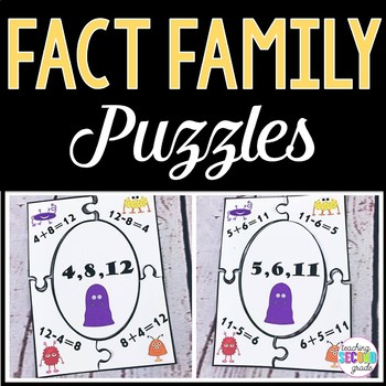 Fact Family Addition / Subtraction Facts 24 Puzzles Centers  Activities Math
