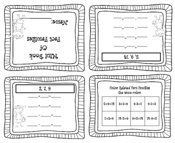 Fact Family Addition / Subtraction Facts Mini Foldable Book