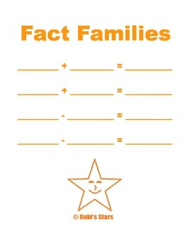 Fact Family Addition & Subtraction Fill-in page