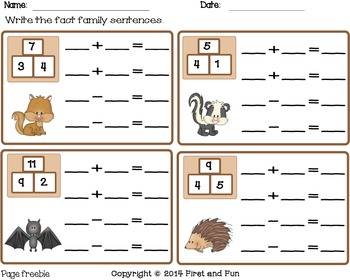 Fact Family Addition Subtraction  MAFS Common Core Games Freebie