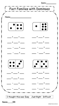 Fact Family Assessment with Dominoes FREE
