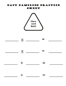 Multiplication and Division Fact Family Cards 0x, 1x, 2x