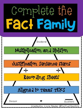 Fact Family Cards: Multiplication/Division TEKS