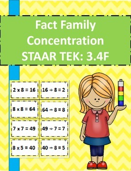 Fact Family Concentration STAAR TEK: 3.4F