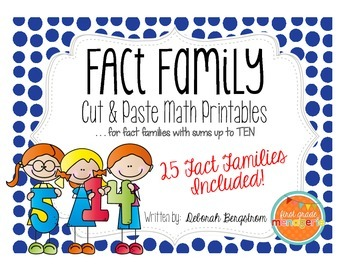 Fact Family Cut & Paste with Sums to Ten