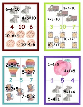 Math Fact Family Erasable Mini-Book Cards and Puzzles for Add and Sub Sums 2-10