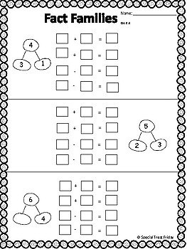 Fact Family FREE Worksheets