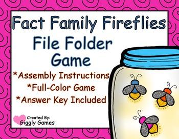 Fact Family Fireflies File Folder Game